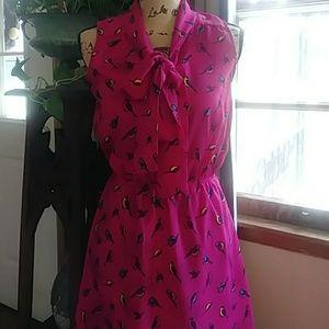Accidentally in Love Bird Print Tie Neck Dress